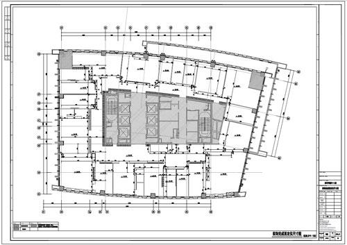 某写字楼四十七层室内装饰施工图施工图装饰完成面定位尺寸图