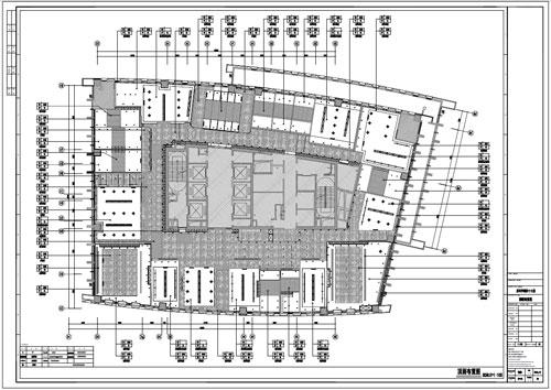 某写字楼四十七层室内装饰施工图施工图顶面布置图