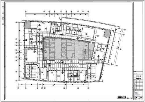 某写字楼四十七层室内装饰施工图施工图顶面造型尺寸图