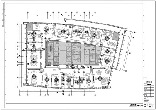 某写字楼四十七层室内装饰施工图施工图立面索引图