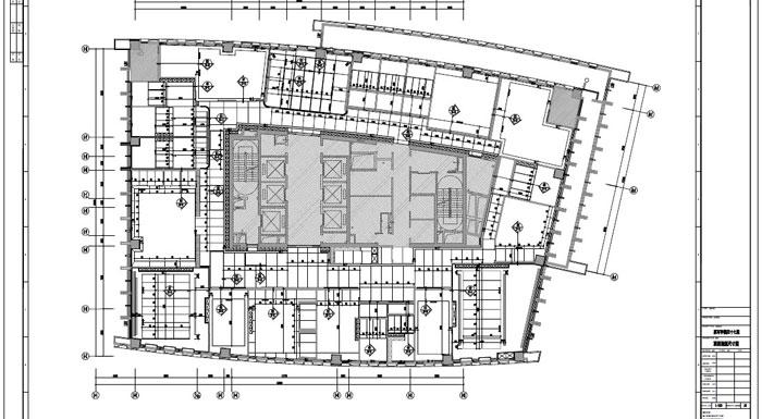 写字楼四十七层室内装饰施工图施工图顶面造型尺寸图