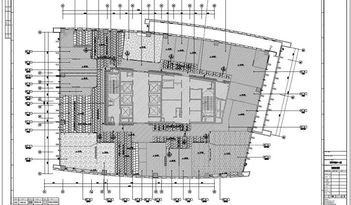 写字楼四十七层室内装饰施工图施工图地面布置图