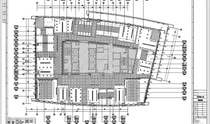 写字楼四十七层室内装饰施工图施工图顶面布置图