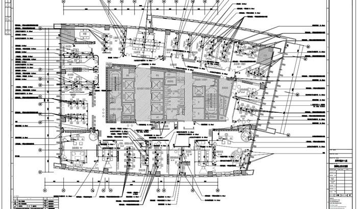 写字楼四十七层室内装饰施工图施工图强弱电点位示意图