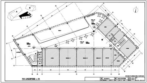 青少年活动中心深化设计施工图三层C区公共区域平面图
