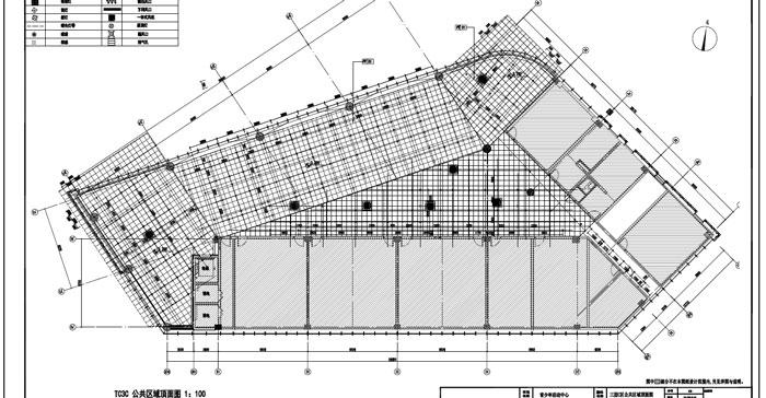 青少年活动中心深化设计施工图三层C区公共区域顶面图