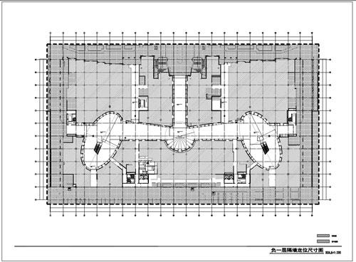 商场深化设计施工图负一层隔断定位尺寸图