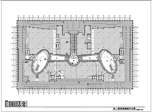 商场深化设计施工图负一层顶面造型尺寸图