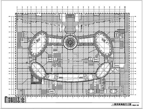 商场深化设计施工图一层顶面造型尺寸图