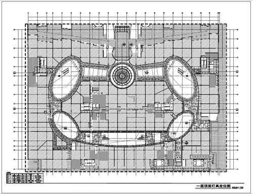 商场深化设计施工图一层顶面灯具定位图