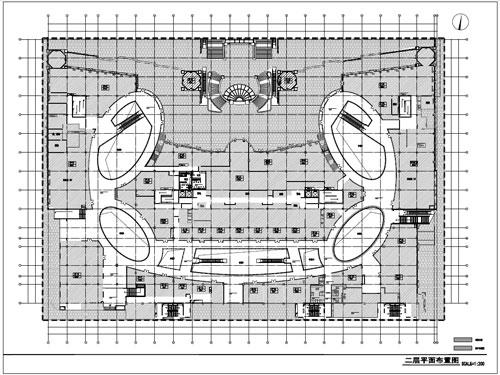 商场深化设计施工图二层平面布置图