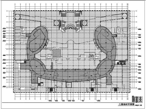 商场深化设计施工图二层地材平面图