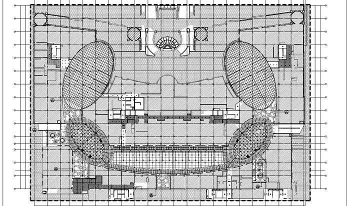 商场深化设计施工图二层顶面造型尺寸图