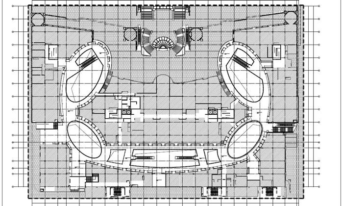 商场深化设计施工图二层隔断定位尺寸图