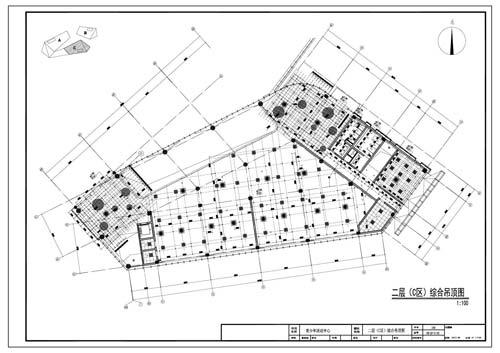 青少年活动中心施工图深化设计二层C区综合顶面图