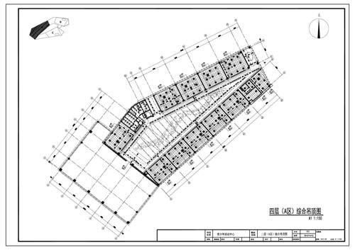 青少年活动中心施工图深化设计四层A区综合顶面图