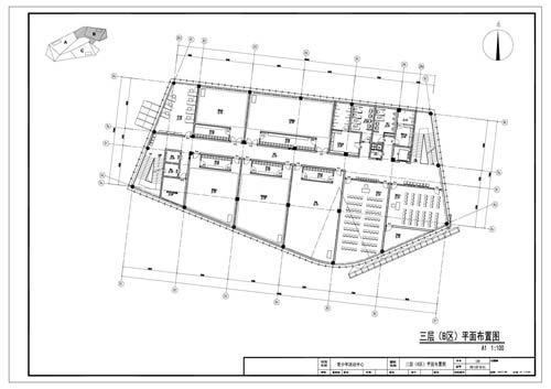 青少年活动中心施工图深化设计三层B区平面布置图