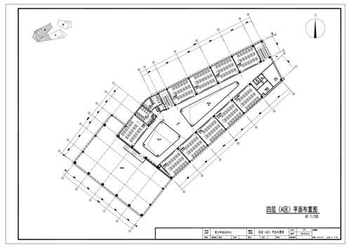 青少年活动中心施工图深化设计四层A区平面布置图
