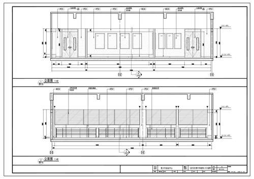 青少年活动中心施工图深化设计C区1层红领巾体验馆立面图1-2