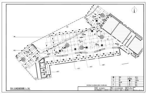 青少年活动中心施工图深化设计C区1层公共区域顶面图