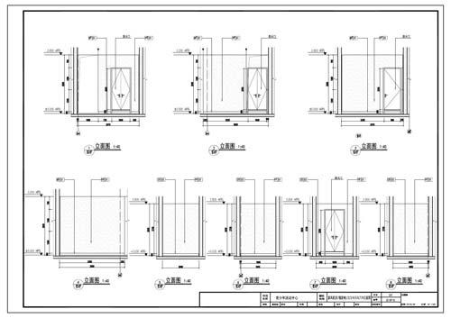 青少年活动中心深化设计施工图新风机房/强弱电1/2/3/4/5/6/7/8立面图