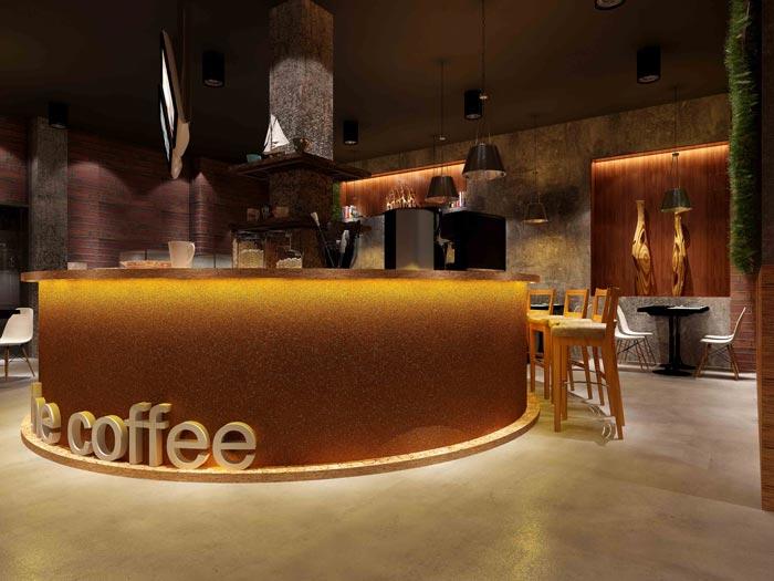杭州創意工業風咖啡廳前臺吧臺裝修設計案例效果圖