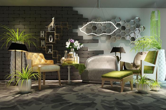 室内空间材质效果图
