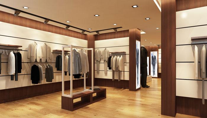 100平方男服装店展示区域装修设计案例效果图