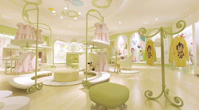 伊卡通童装店展示区域装修设计案例效果图