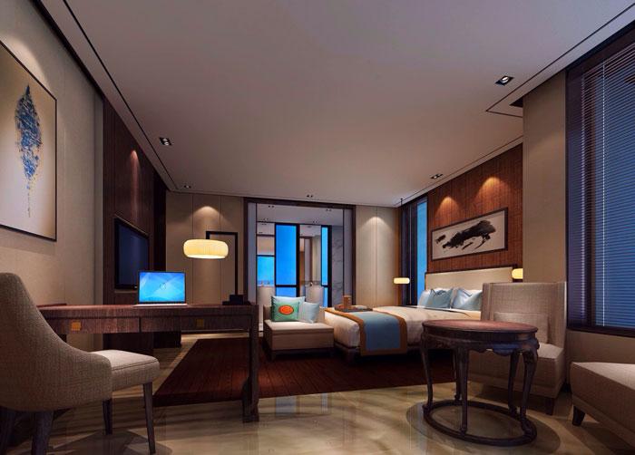 现代、中式混搭私人会所卧室装修设计案例效果图