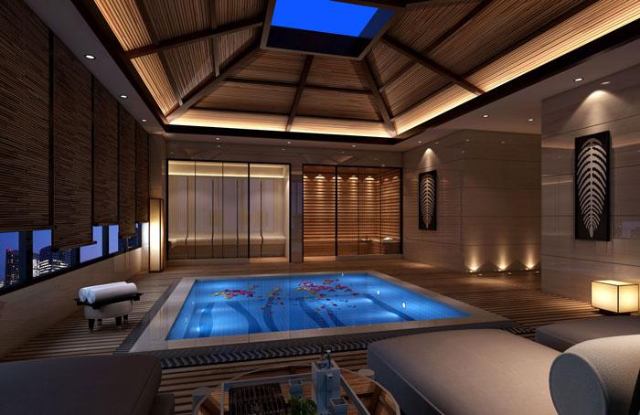 1000平方私人会所浴池区域装修设计案例效果图