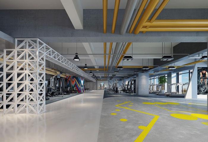1700平方健身会所大厅装修设计案例效果图