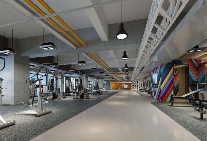 1700平方健身会所大厅过道装修设计案例效果图
