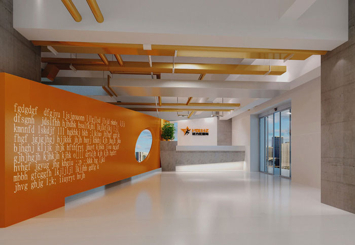 1700平方健身会所形象墙区域装修设计案例效果图