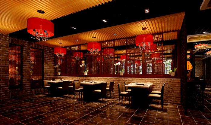 中式风格火锅店餐桌区域装修设计案例效果图