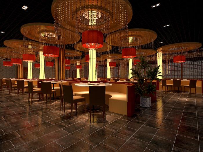 中式风格火锅店大厅装修设计案例效果图