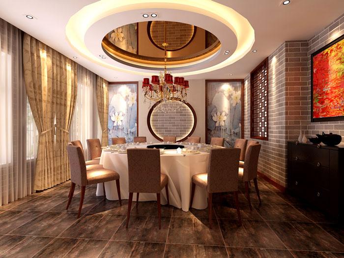 中式风格火锅店餐桌装修设计案例效果图
