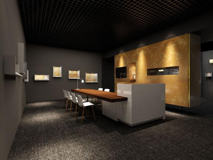 古董拍卖展会展厅前台装修设计案例效果图