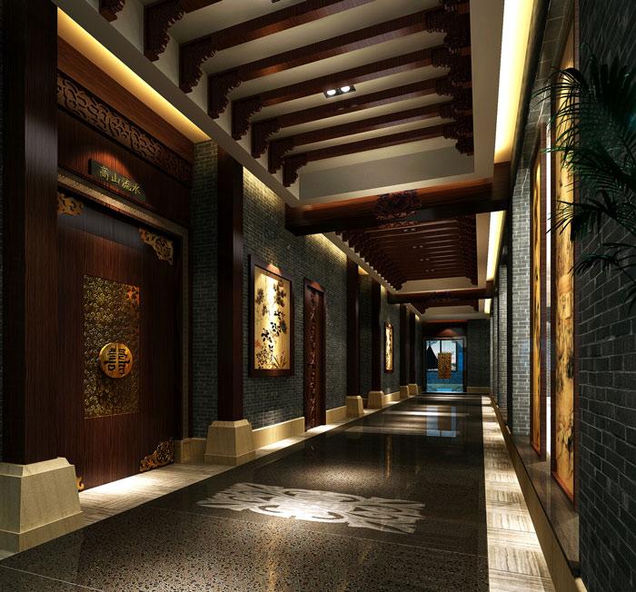 1300平米中餐厅过道装修设计案例效果图