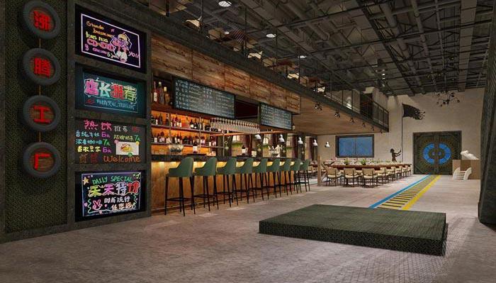 工业风格主题餐厅前台吧台装修设计案例效果图