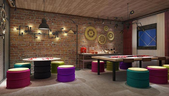 工业风格主题餐厅工作室装修设计案例效果图