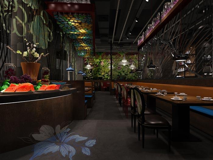 朱槿花主题餐厅前台装修设计效果图