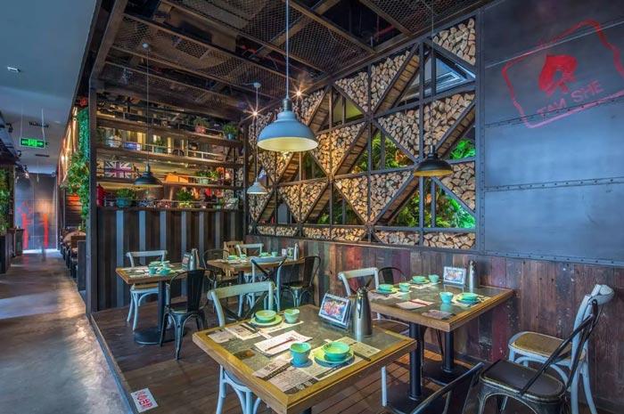 复古餐厅前台装修设计案例效果图