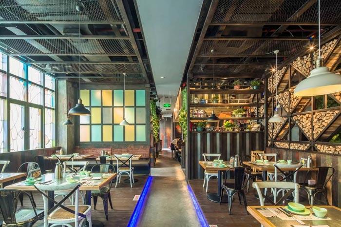 复古餐厅过道装修设计案例效果图