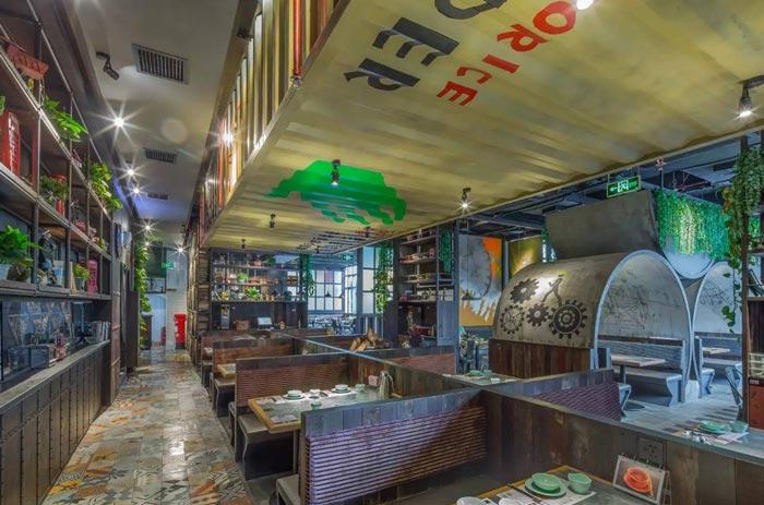 复古餐厅大厅装修设计案例效果图