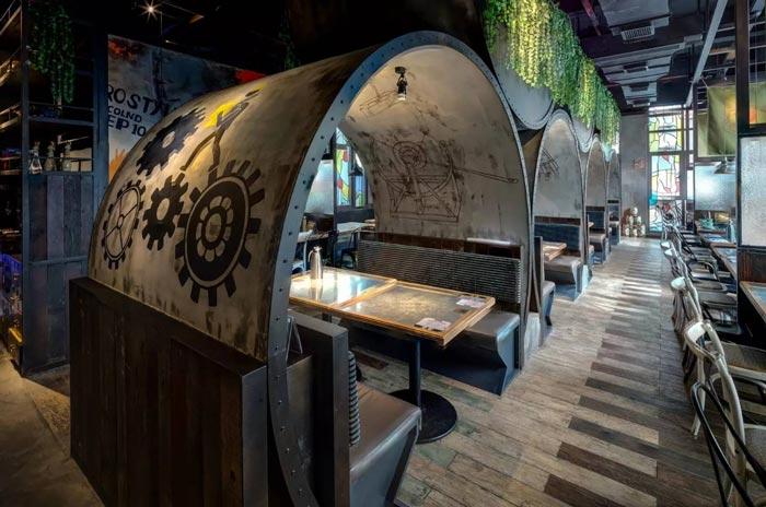 复古餐厅创意区域装修设计案例效果图