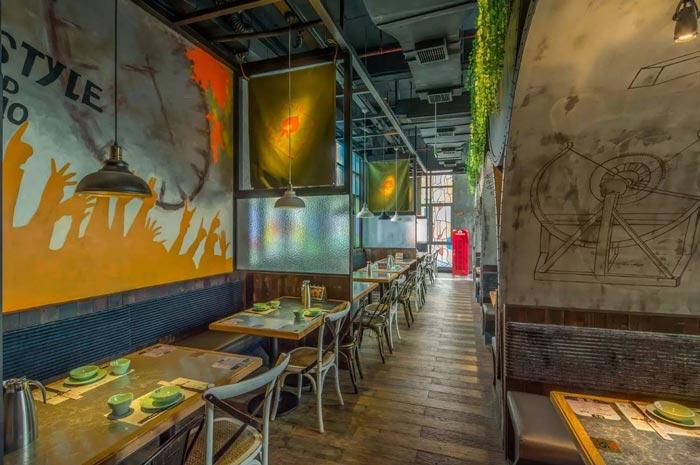 复古餐厅背景墙区域装修设计案例效果图