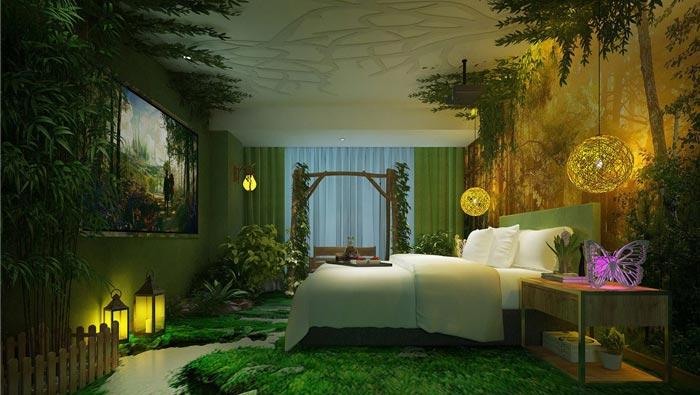 情侣主题酒店森林客房装修设计案例效果图图片