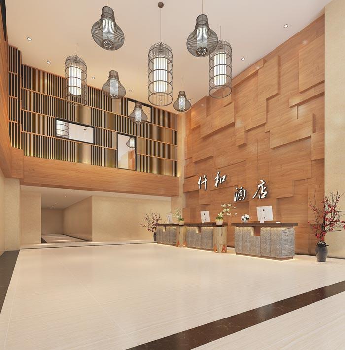新中式主题酒店前台装修设计案例效果图