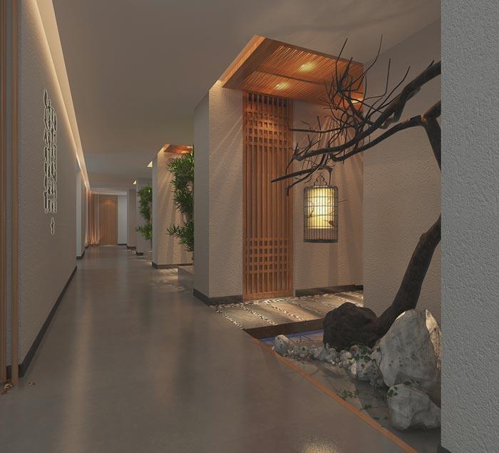 新中式主题酒店过道装修设计案例效果图